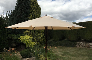 Large Hardwood 3m Beige Wooden Pulley Garden Parasol Umbrella