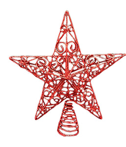 30cm Red Swirls Star Christmas Tree Topper Decoration