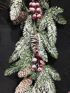 Frosted Cone Berry Garland Christmas Decoration for Mantelpiece