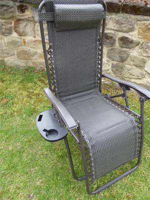 Brown Padded Recliner Chair And Side Tray