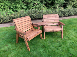 UK-Gardens Outdoor Wooden Extra Wide Armchairs with Detachable Angled Tray