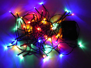 Set of 50 Multi-Colour Indoor Outdoor Battery Operated Multi Action Timer LED Christmas Tree Fairy Lights