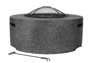 UK-Gardens Round Steel Firepit BBQ Charcoal Grill with Mesh Guard Dark Grey