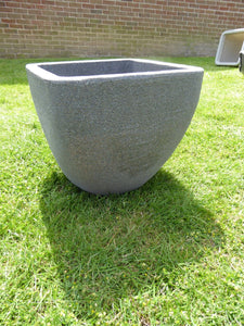 Square Top Round Base Planter - Grey Rippled Concrete