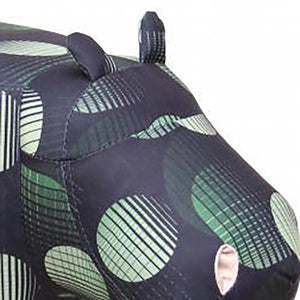 UK Gardens 67cm Black and Green Colour Hippo Velvet Footstool