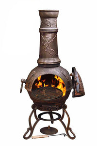 UK-Gardens 115cm Swivel Cast Iron Bronze Grapes Chimenea Charcoal Grill Large