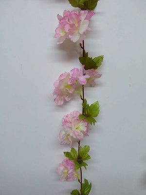 Decorations - Artificial Plant -2m 6' Long Blossom Garland With Foliage - Decorative Artificial Flowers - 3 Colours (Light Pink)