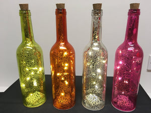 30cm Battery Operated LED Pink Metallic Crackle Wine Bottle - Indoor Use as a Home Fireplace or Table Decoration