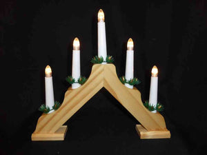 35cm Battery Operated Wooden Christmas Candlebridge with Timer - 5 Warm White LEDs