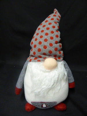 38cm Standing Christmas Gnome Spotty Hat Festive Xmas Ornament Decoration