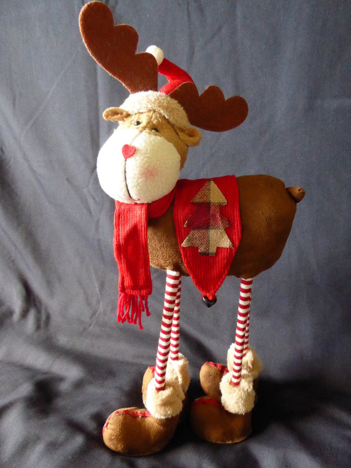 40cm Soft Fabric Standing Reindeer Christmas Decoration With Red Harness & Bells - Flexible Novelty Christmas Decoration