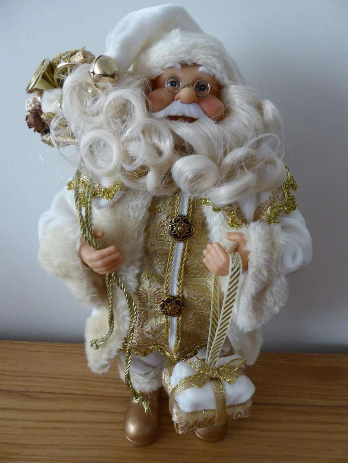 30cm Luxury Standing Ivory and Gold Father Christmas Santa Soft Toy Ornament Figure Indoor Christmas Decoration