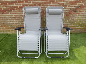 UK-Gardens SET OF 2 Grey Garden Sun Lounger Recliner Garden Chairs Weatherproof Textoline