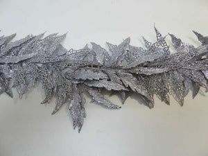 180cm Silver Glitter Leaf Artificial Christmas Garland - Indoor Home Decoration