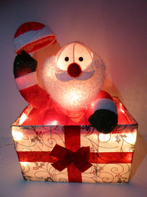 UK-Gardens 50cm Animated Santa in Gift Box - Novelty Christmas Decoration