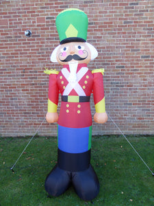 UK-Gardens Nutcracker Soldier Large Inflatable Christmas Decoration with LED Lights 240cm Tall Indoor Outdoor
