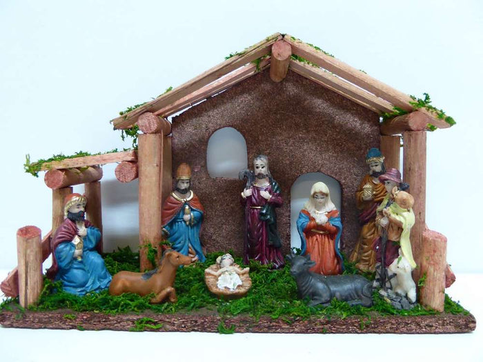 25cm Wooden Nativity Set with 10 Characters
