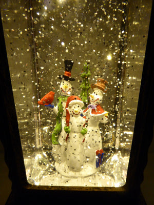 UK-Gardens 30cm Bronze Snowman Lantern Snow Globe Water Spinner