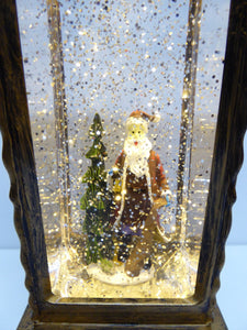 UK-Gardens 30cm Bronze Santa Lantern Snow Globe Water Spinner