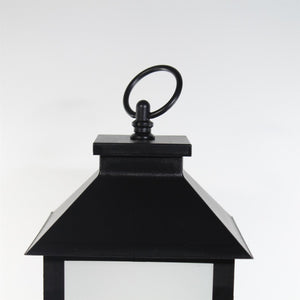 UK-Gardens 28cm Black Plain Lantern with Flickering Candle Flame Effect BO