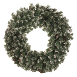 UK Gardens 60cm Bo Frosted Christmas Garland Decoration Wreath Cones 60 Lights