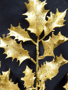 55cm GOLD Glitter Artificial Holly Stem Christmas Decoration