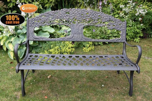 UK Gardens 127cm Black Cast Iron Outdoor Bench with Tree Design