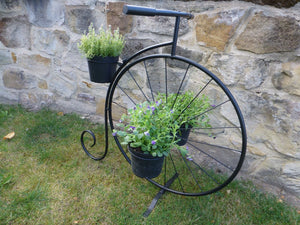 Black Metal Penny Farthing Bicycle Plant Stand Garden Planter Holds 3 Plant Pots