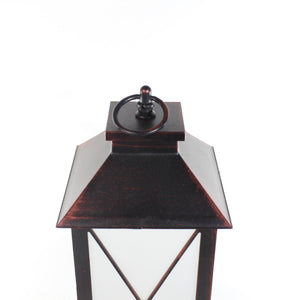UK-Gardens 28cm Copper Bronze Cross Lantern with Flickering Candle Flame BO