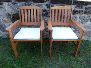 UK-Gardens SET OF 2 Wooden Garden Dining Chair Armchairs With CREAM Cushions