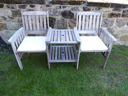 UK-Gardens Heavy Duty Grey Wooden Garden Love Seat Bench With Parasol Hole and Table (CREAM Cushions)