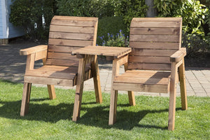 Set of 2 Deluxe Straight Loungers with Foot Stools | UK-Gardens.co.uk