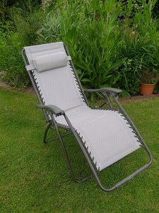 BEIGE Padded Garden Recliner Lounger Chair
