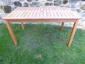 UK-Gardens 6 Seater Wooden Garden Dining Table With Parasol Hole 140 x 80 x 74cm