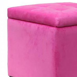 UK Gardens 34cm Pink Square Velvet Footstool with Storage Lid