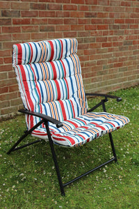 2 position Striped Padded Folding Garden Chair