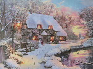 Christmas Decorations - 40 x 30 House By River Canvas Print