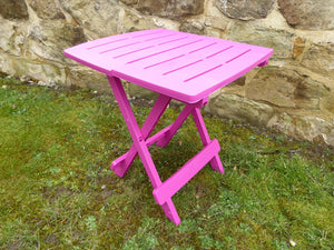 UK-Gardens Pink Resin Plastic Garden Table Lightweight Folding Outdoor Camping Side Table
