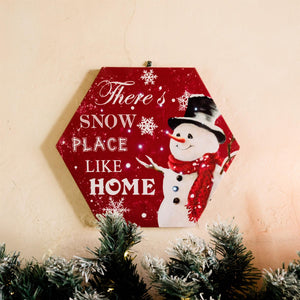 UK Gardens 30cm Canvas Picture Hexagon Snow Place Like Home with LED Lights