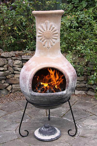 UK-Gardens 125cm Extra Large Clay Top Green Base Mexican Clay Chimenea Firepit