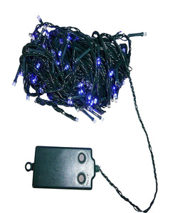 Set of 100 Blue Indoor Outdoor Battery Operated Multi Action Timer LED Christmas Lights