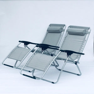 SET OF 2 Grey Garden Sun Lounger Relaxer Recliner Garden Chairs