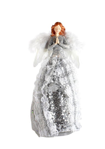 UK-Gardens 28cm Redhead Angel with Silver Glitter Sequin Dress Christmas Tree