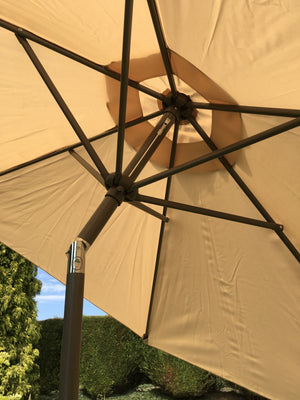 Large 2m Beige Crank And Tilt Garden Parasol Umbrella 200cm  Metal Pole