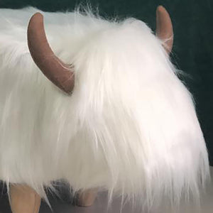 UK Gardens 61cm White Highland Cow Synthetic Fur Footstool Furniture