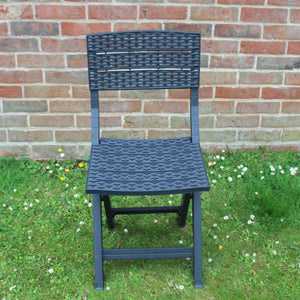 UK-Gardens Dark Grey Rattan Style Resin 60cm Square Garden Bistro Set Patio Dining 2 Folding Chairs