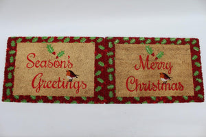 UK-Gardens MERRY CHRISTMAS 40X60cm Red and Yellow Christmas Outdoor Door Mat