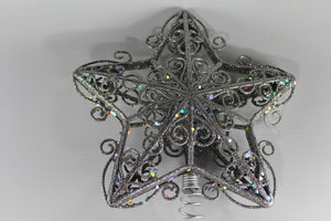 30 x 20cm Silver Glitter Tree Star Tree Topper Christmas Decoration