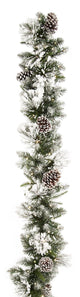 UK Gardens 180cm Bo Flocked Christmas Garland Decoration Wreath Cones 80 Lights