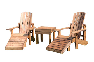UK-Gardens Outdoor Patio Heavy Duty Aidendack Style Wood Set Loungers without Cushions